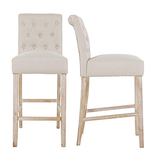 "NOBPEINT Fabric Upholstered Barstool Solid Wood Legs 30"", Tan(Set of 2)"