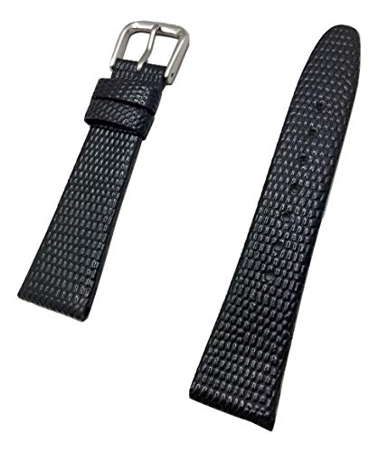 18mm Short Size, Black Genuine Leather Watch Band | Round Lizard Grain, Flat Replacement Wrist Strap That Brings New Life to Any Watch (Mens Short Length)