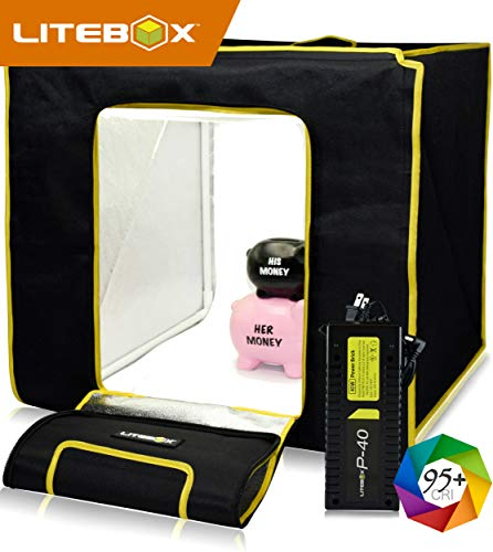 LITEBOX: Product Photography Light Box Kit (25,000 Lumen Output) Portable Photo Studio Box with Lights, 4 Backdrops, Photo Booth Camera Phone Tripod & Travel Bag! - (DIMMABLE LED)