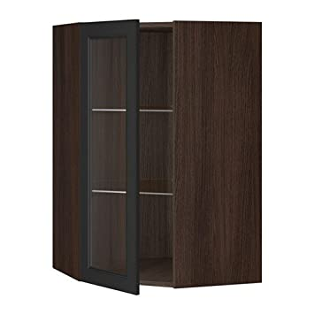 Amazon Com Ikea Corner Wall Cabinet With Glass Door Brown Laxarby
