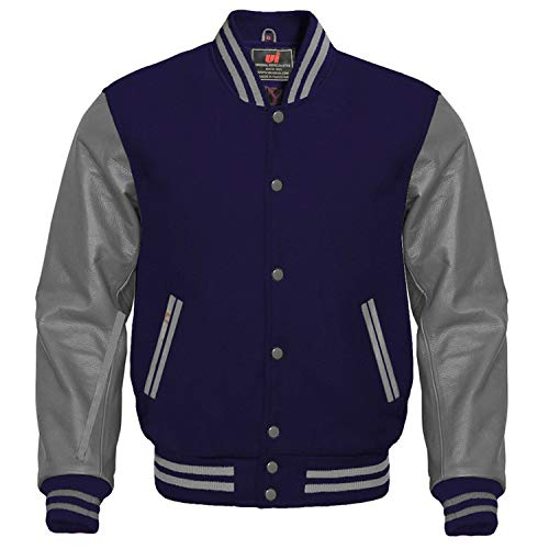 UI-Fashion Letterman Baseball University Varsity Jacket Navy Blue Wool & Gray Genuine Leather Sleeves (Navy Blue/Gray, M)
