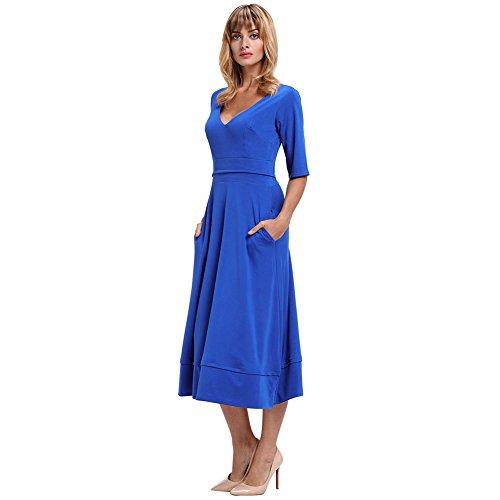fiesta elegante vestido de mujer amp;S Vintage Noche vestido Larga Azul Maxi Prom MEI de Aq7UFwZw