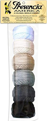(Presencia Pearl Cotton Thread Sampler - Sashiko, Embroidery & Quilting - Neutral Sampler - Size 8 - 6 Colors - 77 yard)