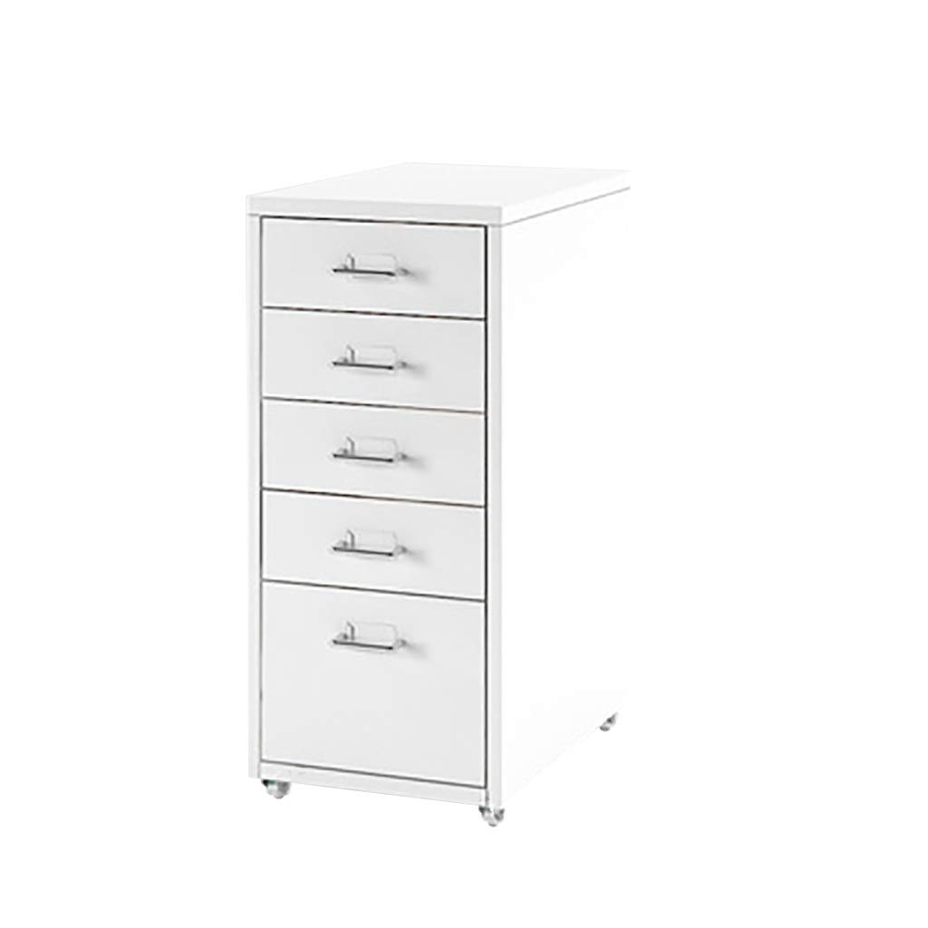 Drawer Vertical File Cabinet 5 Drawers Mobile Storage Cabinet - Colled Rolled Steel 412869CM (Color : White)