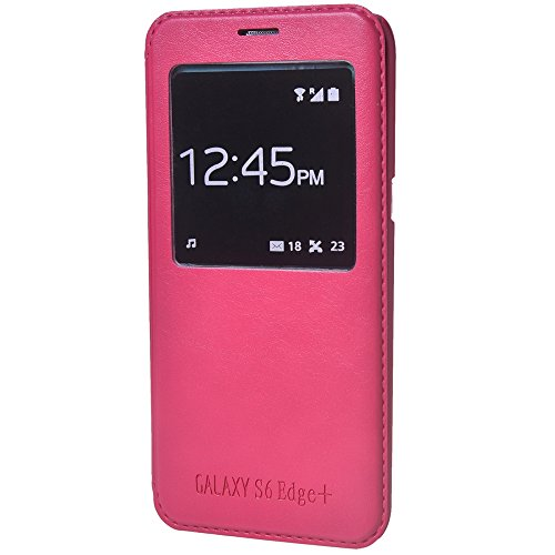 Galaxy S6 edge Plus Funda,COOLKE [Pink] Ultra Delgado Flip Folio View Window Funda Carcasa Protective Case Cover Para Samsung Galaxy S6 edge+ Rose