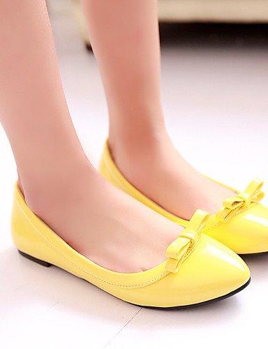5 blanco Casual zapatos eu38 sintética cn38 rojo amarillo azul 5 negro uk5 Flats plano talón Toe PDX yellow us7 punta mujer piel de de Pxw5aB