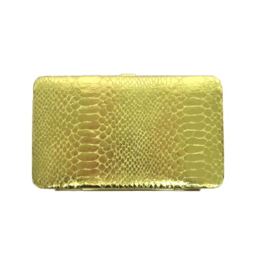 Fashion Quality Metallic Snake Skin Embossed Leather Framed Flat Wallet Clutch (Gold) (Leather Snakeskin Embossed)