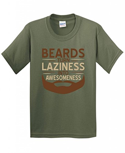 Beards Turn Laziness Into Awesomeness Mens Cool Guys Funny T-Shirt XL Military