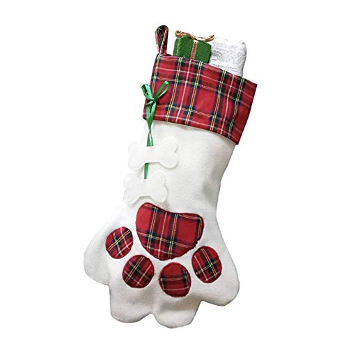 (Santa Paws Christmas Stockings for Your Fur Baby. Plush, Large Pet Christmas Stockings for Your Dogs and Cats (Red))
