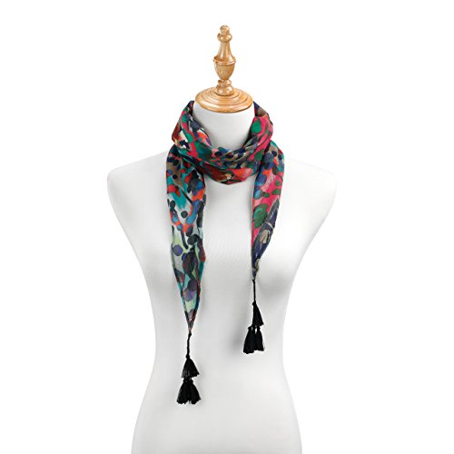 (Color Splatter Women's One Size Polyester Fashion Tasseled Skinny Scarf)