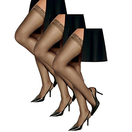 (Hanes Women`s Set of 3 Silk Reflections Silky Sheer Thigh High - Best-Seller! CD, Barely There)