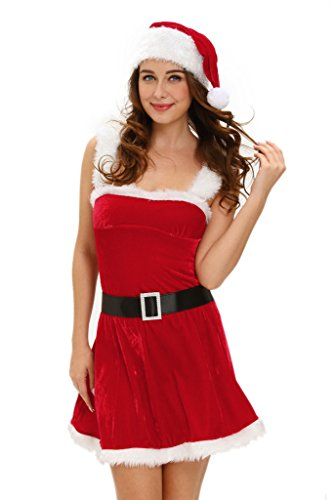 Dokotoo Womens Santa Deluxe Jingle Sexy Christmas Costume (Plus Size Sexy Santa Christmas Costume)