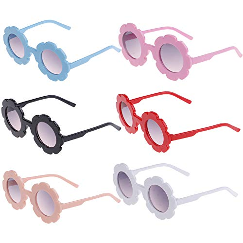 Xgood 6 Pieces Flower Kids Sunglasses Round Colorful Eyewear for -