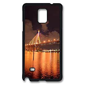 Samsung Galaxy Note 4 Case, Note 4 Cases - Bhumibol Bridge Bangkok City In The Evening Protective TPU Soft Rubber Bumper Case Cover for Samsung Galaxy Note 4 N9100 Black