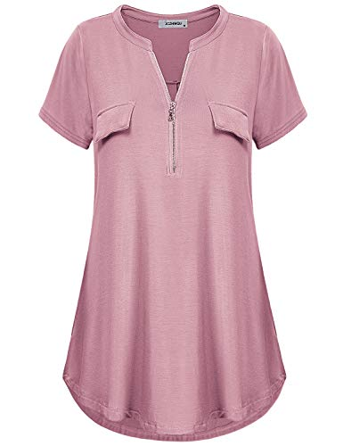 Tunic Tops for Women, Ladies Vintage Notch V Neck Zip Up Blouse Short Sleeve Solid Color Form-Fitting Working Trapeze Shirt Henley Blouse Dark Pink ()