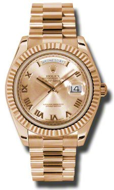 Rolex Day-Date II Champagne Dial Automatic 18kt Rose Gold President Mens Watch 218235CRP