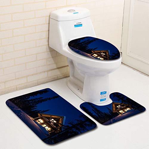 MTSJTliangwan 3-Piece Bathroom Set, Bathroom Rug + Contour pad + lid Toilet seat, Wooden Cottage Log Home Log Cabin in Winter at Night Comfortable Flannel Rug