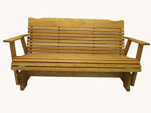 Kilmer Creek 5' Cedar Porch Glider W/stained Finish, Amish Crafted Cedar Creek Cedar Bench