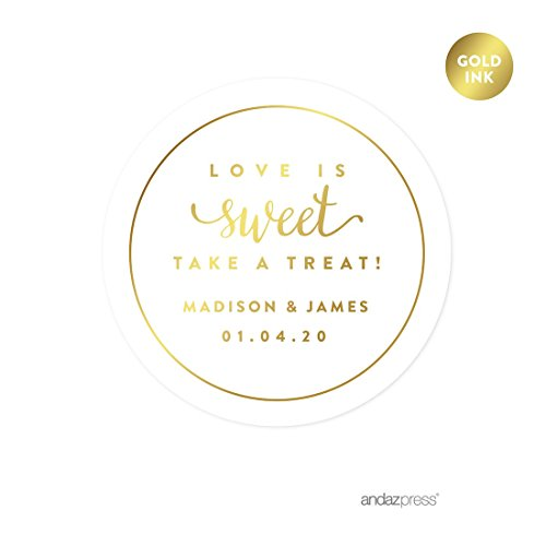Custom Stickers Seals - Andaz Press Personalized Round Circle Wedding Favor Gift Labels Stickers, Metallic Gold Ink, Love is Sweet Take a Treat, 40-Pack, Custom Made Any Name, Gold Stationery, Envelope Seals