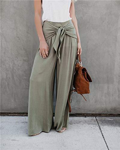 Size XL FAIYIWO Women Khaki Wide Leg Chiffon Pants High Waist Tie Front Trousers Palazzo OL Elegant Pants FAIYIWO Grey