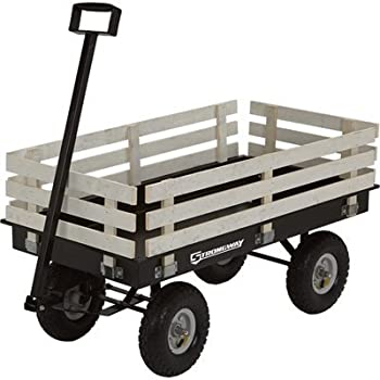 Strongway Garden Wagon with Rails - 46 3/8in.L x 23in.W, 1,200-Lb. Capacity