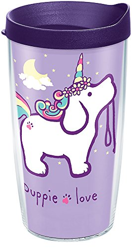Tervis 1288773 Puppie Love - Unicorn Puppy Tumbler with Wrap and Royal Purple Lid 16oz, Clear by Tervis