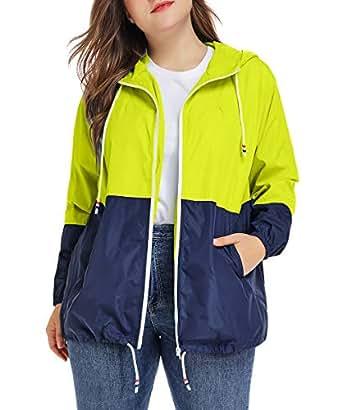 Women's Waterproof Raincoat Outdoor Hooded Rain Jacket Windbreaker Fluorescent Green XL
