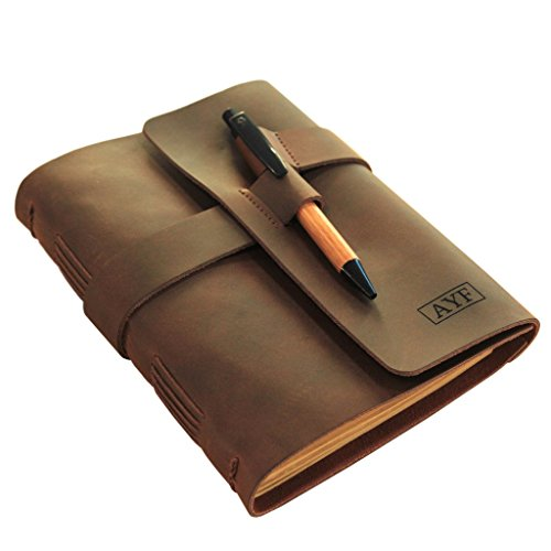 Brown Moleskin (Monogrammed Leather Journal Diary with Bamboo Pen by Case Elegance)
