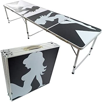 NEW 8u0027 BEER PONG TABLE ALUMINUM PORTABLE ADJUSTABLE FOLDING INDOOR OUTDOOR  TAILGATE PARTY GAME #