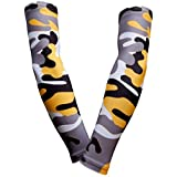 PAIR - Sports Farm - Compression Elbow Arm Sleeves (ADULT LARGE, YELLOW BLACK GRAY WOODLAND CAMO)