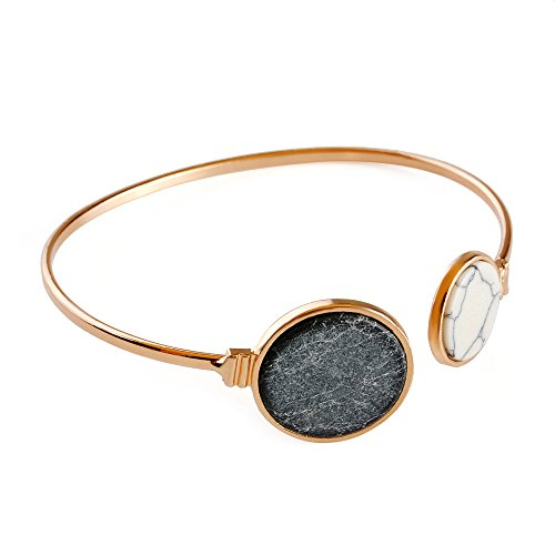 Mallto Shawn Women Handmade Genuine Vintage Double Round Turquoise bracelet Wrist Cuff Wrap Bracelet Gift