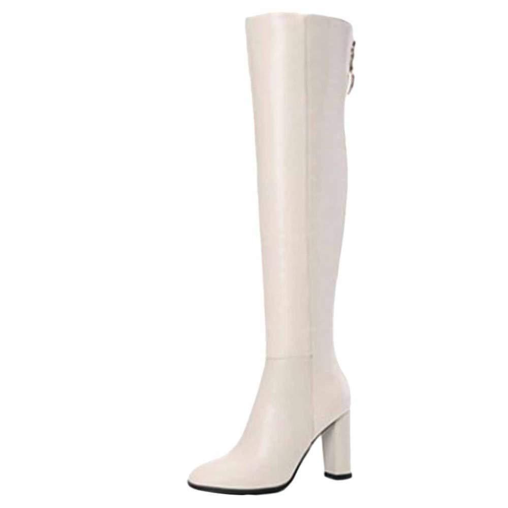Miss Li Overknee-Stiefel Stiefel Leder Herbst Und Winter Runder Kopf Hohe Ferse Mode Seitlicher Reißverschluss Damenstiefel Work Utility Footwear