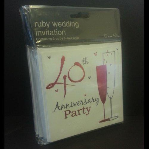 40th Ruby Wedding Anniversary Party Invitations {Holographic} 36 Cards with - Invitations Anniversary 40th