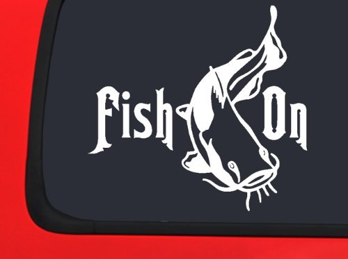 Catfish Decal - Lifestyle Graphix Fish On - Catfish - Fishing Window Decal Sticker Boat Auto Vinyl