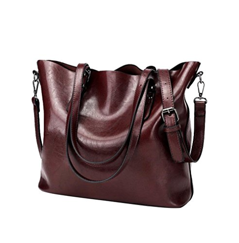 Women Retro Crossbody Bag Rakkiss Leather Shoulder Bag Handbag Bucket Large Capacity Bag Tote Backpack Bags (One_Size, Oxblood Red) -