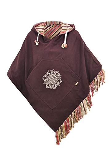virblatt - Ponchos for Women Poncho Sweater Baja Mexican Womens Jerga Brown Cotton Relaxed - Relaxed br
