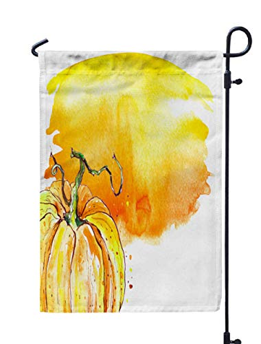 Shorping Welcome Garden Flag, 12x18Inch Watercolor Tag Card with Drawing Pumpkin Autumn Harvest Halloween Invitation to Holiday More Place for Holiday and Seasonal Double-Sided Printing Yards Flags -