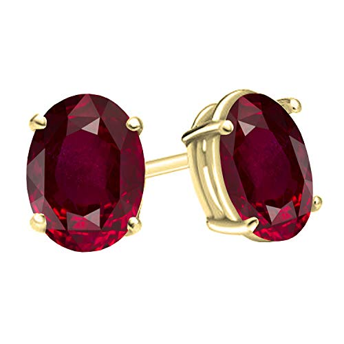 Dazzlingrock Collection 14K 6x4 mm Oval Cut Ruby Ladies Solitaire Stud Earrings 1 CT, Yellow Gold