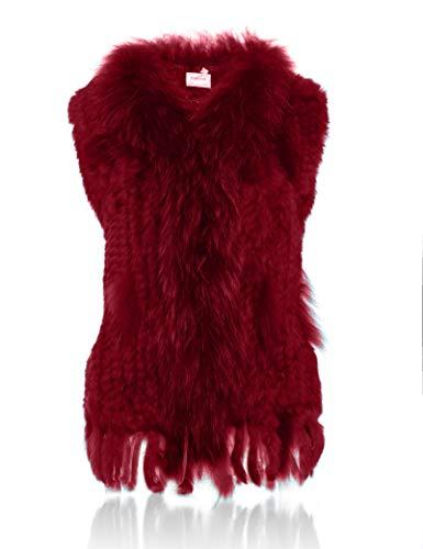 100 col Veste HEIZZI Fourrure avec de Raccoon de tricot Lapin H0qZd6