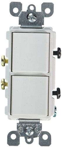 Leviton 5634-W 15 Amp, 120/277 Volt, Decora Single-Pole, AC Combination Switch, Commercial Grade, Grounding, White Double Switch