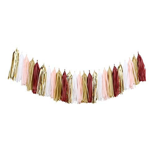 Fonder Mols DIY Tassel Garland Kit Balloons Tail Tassels (25pcs, Burgundy Gold Peach Champagen) for Fall Party Thanksgiving Decor Burgundy Wedding Bridal Shower Backdrop A23