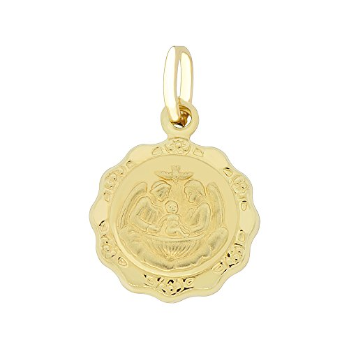 (14k Yellow Gold, Small Baptism Christening Religious Pendant Puffed Hollow Charm Round)