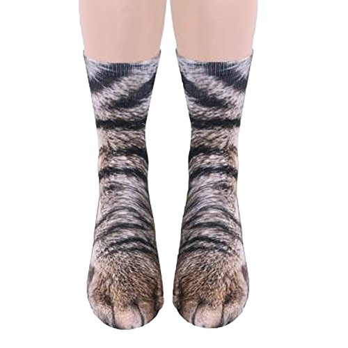 Song Qing Unisex 3D Print Animal Foot Hoof Paw Print Sock Crew Socks -
