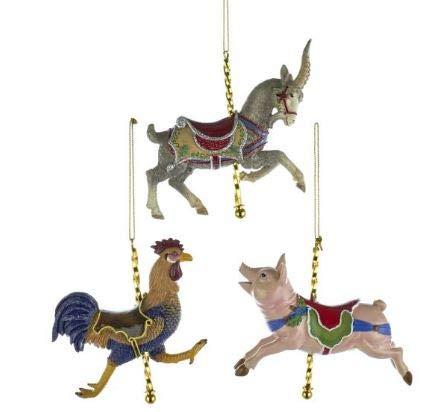 Kurt Adler Rooster, Pig Goat Farm Animal Carousel Ornaments Set of 3
