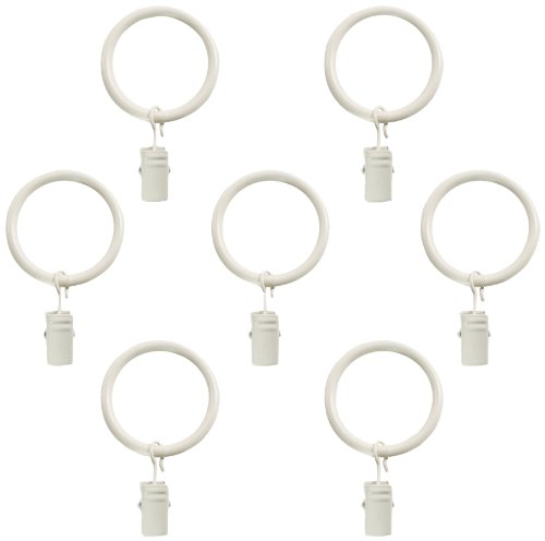 Montevilla 7-Pack Window Treatment Clip Rings for 5/8-Inch Drapery Rods, Distressed White