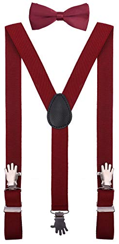YJDS Toddler Bow Tie and Suspenders Set Adjustable with Hand Clips Burgundy 30'' ()
