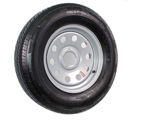 eCustomRim Radial Trailer Tire On Rim ST205/75R15 Load C 5 Lug Silver Modular Wheel