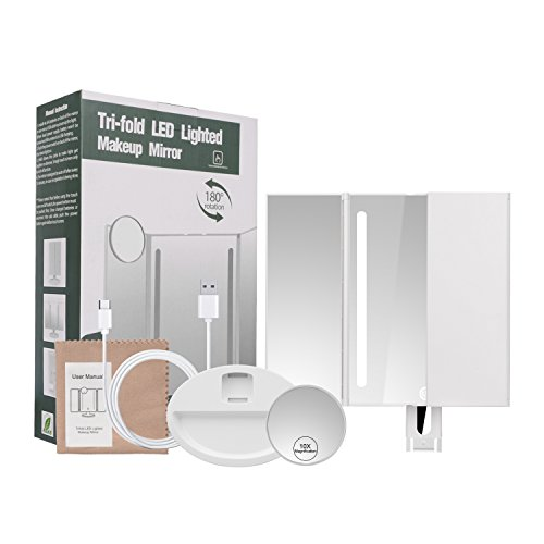 Herwiss Lighted Makeup Mirror Portable Bathroom Vanity