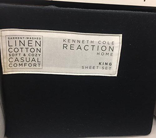 Kenneth Cole Black King Sheet Set, Linen/Cotton,