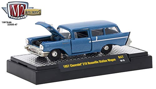 M2 Machines 1957 Chevrolet 150 Handyman Station Wagon (Harbor Blue Metallic) Auto-Thentics Series Release 47 - 2018 Castline Premium Edition 1:64 Scale Die-Cast Vehicle & Display Case (R47 ()